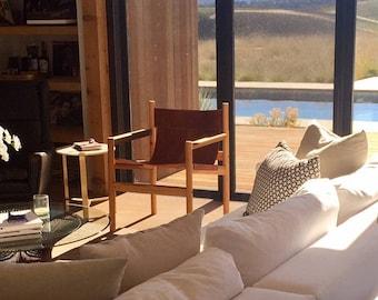 Leather Sling Chair - Lounge Chair - Safari Chair - Mid Century Modern - Arm Chair - Tasky Woodcraft - TASKYwoodcraft - Modern Chair