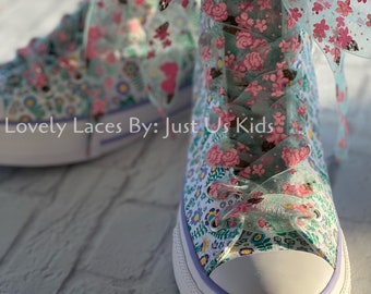 Sheer Ribbon Floral Print Shoelaces for Sneakers