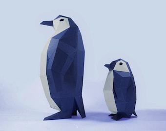 Penguin Paper Craft, Digital Template, Origami, PDF Download DIY, Low Poly, Trophy, Sculpture, 3D Model