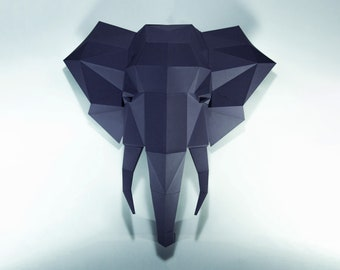 Elephant Paper Craft, Digital Template, Origami, PDF Download DIY, Low Poly, wall decor