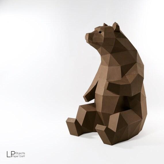 Bear Model, Animal Model, Bear lowpoly ,bear Baloo, papercraft, DIY, low  poly, trophy, papermodel, wall decoration