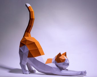 Cat Stretching Paper Craft, Digital Template, Origami, PDF Download DIY, Low Poly, Trophy, Sculpture, Cat Stretching Model