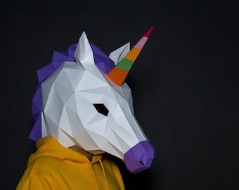 Unicorn Mask Paper Craft, Digital Template, Origami, PDF Download DIY, Low Poly, Polygon Masks,Halloween Mask