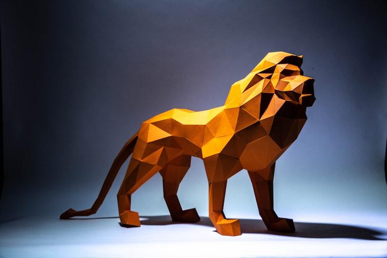 Lion Model 2 , Lion King, Lion Origami, Lion Papercraft, Lion low poly,  Lion Decor, Papercraft, DIY, trophy, papermodel, Sculpture