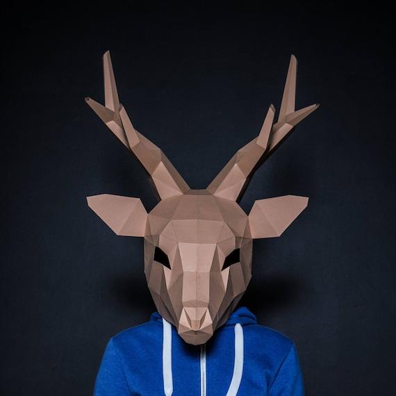 deer mask deer head stag mask printable diy pdf template etsy