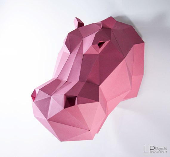 Hippo Head,Hippo paper, Hippo lowpoly, Paper Trophy Hippo,papercraft,3D  Puzzle diy, DIY, 3D, trophy, papermodel, wall decoration