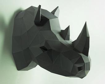 Rhino Head, Animal Head, Rhinoceros Head ,Rhino mask, papercraft, DIY, low poly, trophy, papermodel, wall decoration