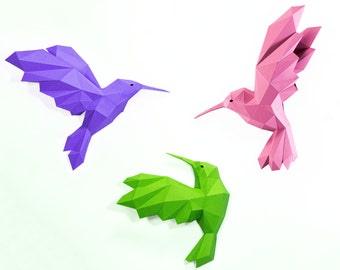 Hummingbird wall decor, Hummingbird Paper,DIY Kit, Hummingbird low poly , Well Paper,Hummingbird Kit, Papercraft Kit, DIY Hummingbird