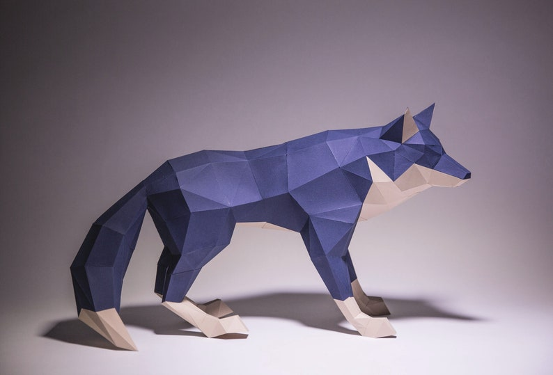 Wolf Model, Wolf, Wolf origami, Wolf paper, Wolf low poly , Wolf Decor,  papercraft, DIY, trophy, papermodel, Sculpture