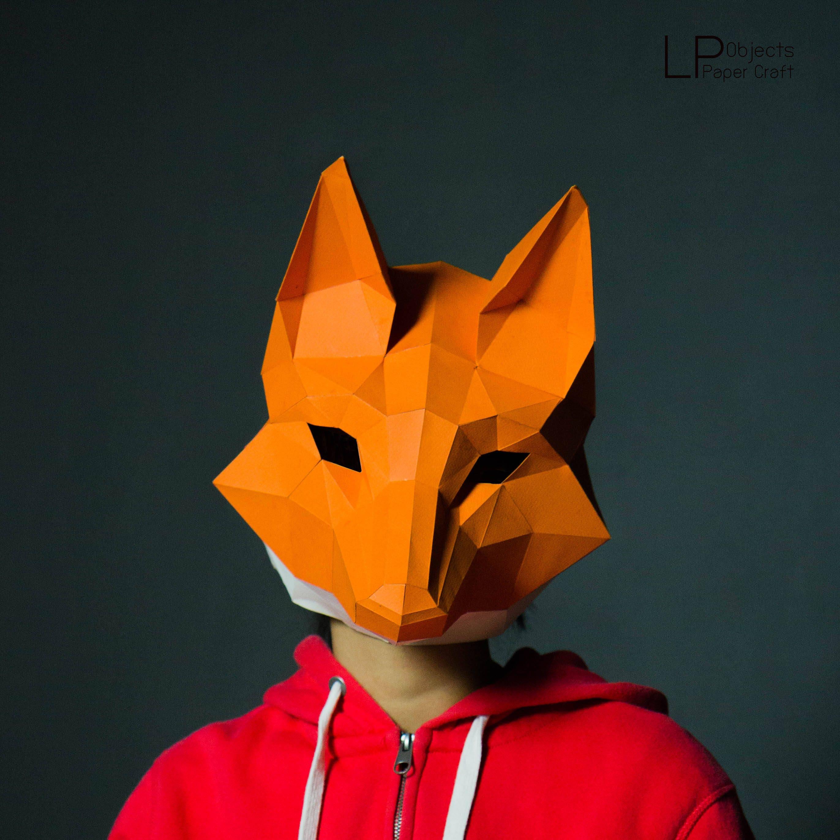 Fox Mask Fox Head Papercraftdiy New Year Mask 3d Polygon Etsy