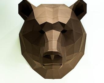 Bear Head, Paper Craft, Digital Template, Origami, PDF Download DIY, Low Poly, Wall decor