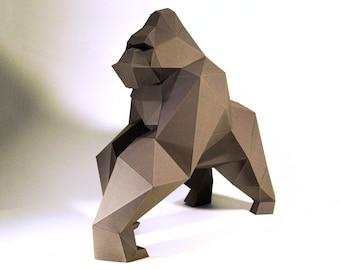 Gorilla, King Kong Paper Craft, Digital Template, Origami, PDF Download DIY, Low Poly, Trophy, Sculpture, Model