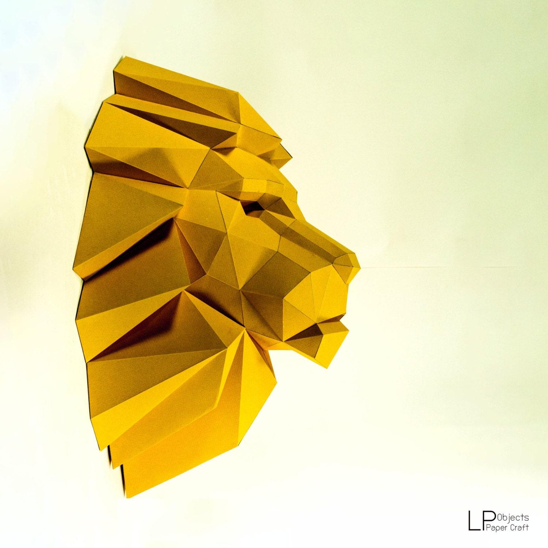 Lion HeadLion paper Lion lowpoly Paper Trophy