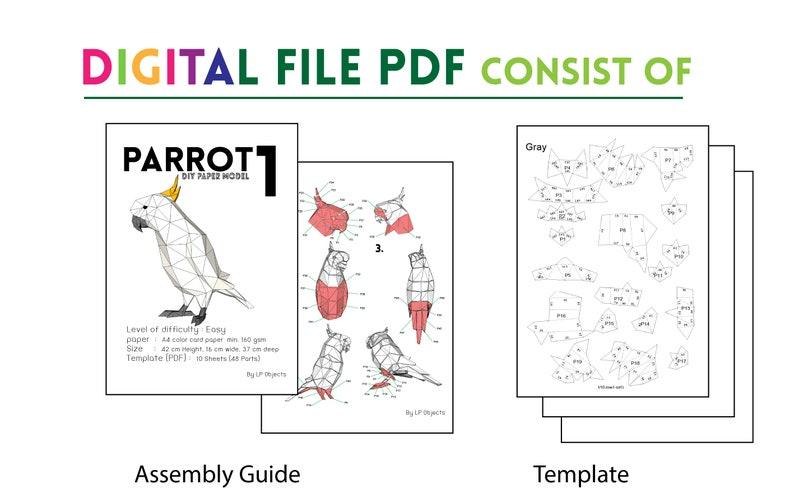 Parrot Peper Craft Parrot Digital Template Parrot Kit DIY Parrot Model Papercraft Kit Parrot low poly Parrot Well