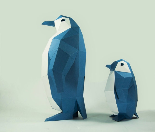 Penguin Model Penguin Paper Diy Kit 3d Papercraft Animals Etsy