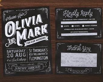 Wedding Invitation | Chalkboard Wedding Suite | Chalkboard Invitation | Rustic Invitation | Chalkboard Wedding Invite | Printable