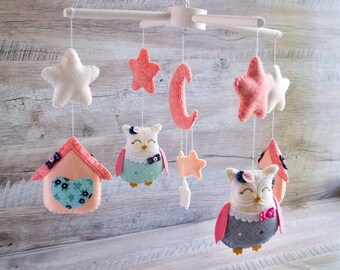 Woodland mobile Baby mobile Baby girl gift baby shower Coral navy nursery Owl mobile Coral mobile Stars mobile Kid room decoration fairytale