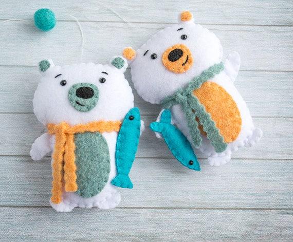 09ef80f5 Polar bear ornament Holiday gift Baby mobile Bear decor White bear nursery  Homemade gifts Bear Christmas Gift for kids Felt ornament stuffed