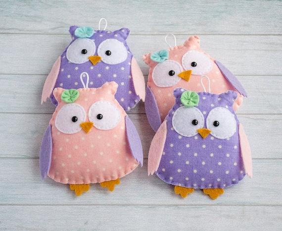 Purple owl decor baby room Woodland nursery Gift ideas for her Woodland mobile Pink ornament Owl gift Kawaii animal Stuffed owls baby mobile