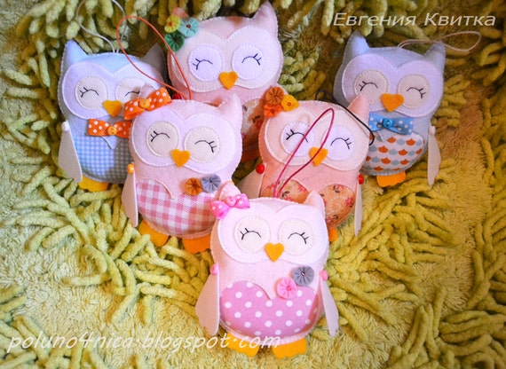 Nursery decor Pink owl Cute stuffed animals Valentines gift Girlfriend gift Kids gift Girls room decor Gift for friend Cream blue ornaments