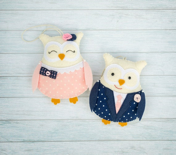 Owl decor Gift for her Valentines gift Cute decor Felt ornament Home decor Navy and pink Wedding gift Wife gift wedding souvenir Felt animal