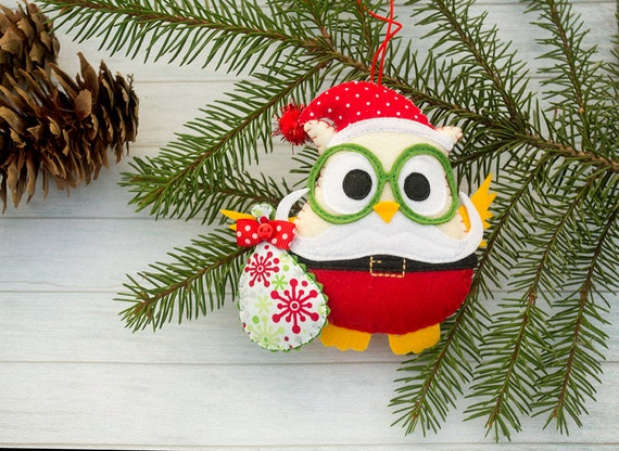 Christmas ornament Owl gift Funny gift Christmas tree ornaments Santa Claus Holiday ornaments toy Toddler christmas Owl lover Santa figurine