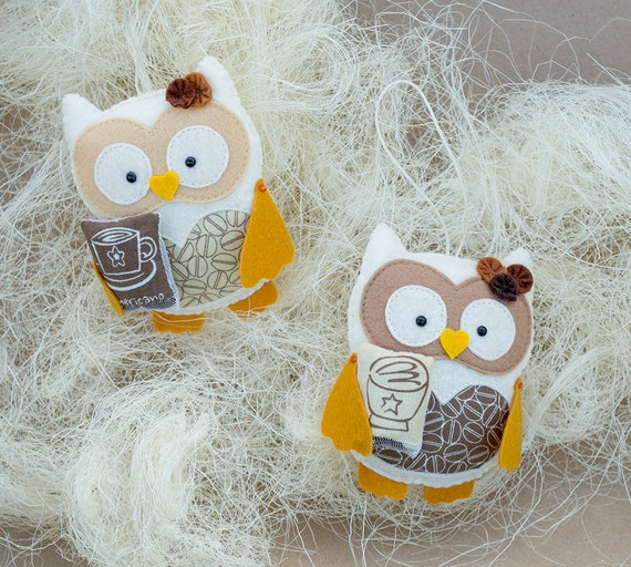 Coffee gifts Stuffed animal Kitchen decor Owl ornament Christmas gift Home decorations Brown decor Gift for friend Cream owls Coffee decor