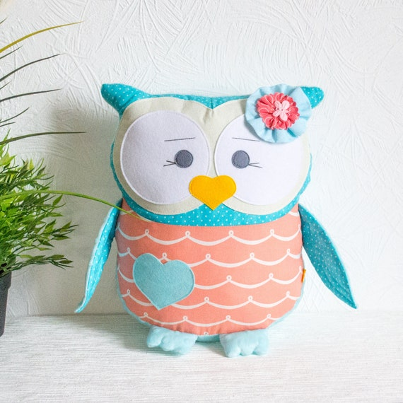 Personalized owl coral decorative pillow turquoise owl pillow Owl nursery decor Baby gift Nursery pillow Plushie Custom name gifts toddler