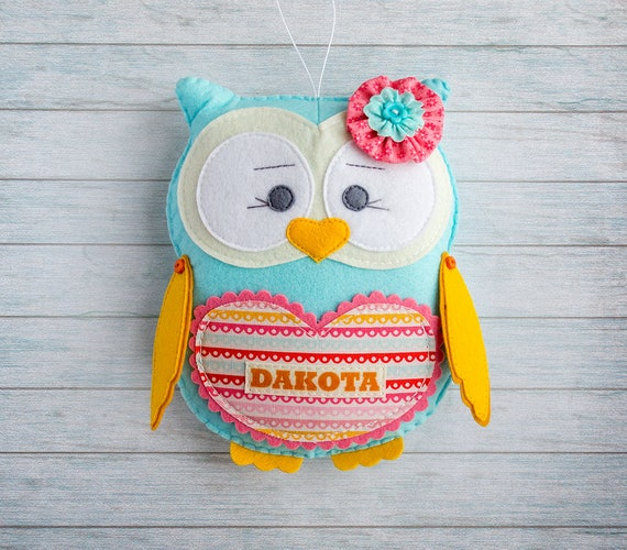 Stuffed owl Felt ornament Toddler gift Personalized nursery Custom plushie Teeth fairy pillow Cute toy Kids gift Baby toys Custom girl gift