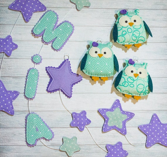 Personalized baby garland baby gift Owl nursery Star decorations Teal purple decor Woodland animal Owl banner personalized name Cute nursery