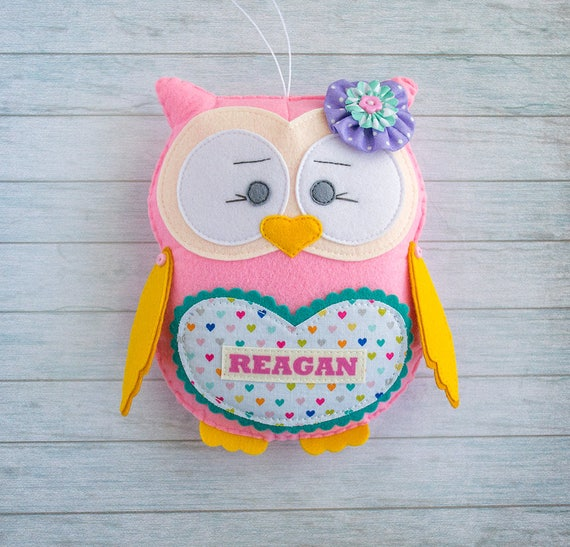 Nursery decor Girl room decor Felt owl Stuffed toy Owl decoration Owl party decor Baby shower gift Personalized gift Christmas present niece