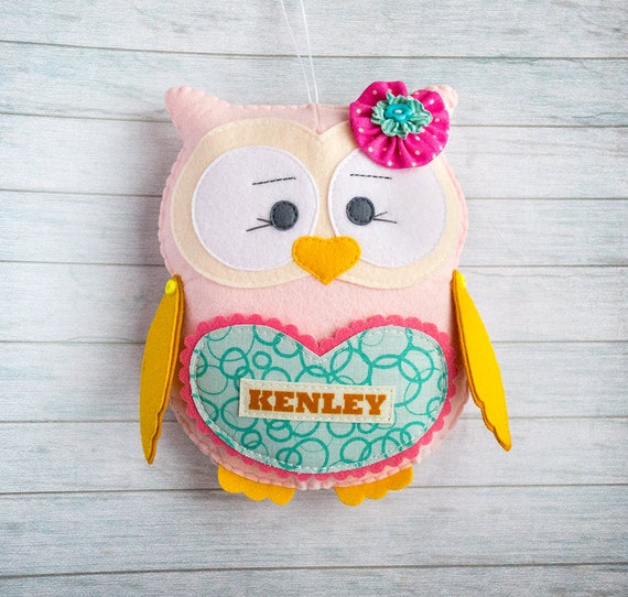 Personalized gift Kid gift Owl toy Custom soft plushie Felt owl Tooth fairy pillow Teal pink nursery Granddaughter gift Xmas gift for sister