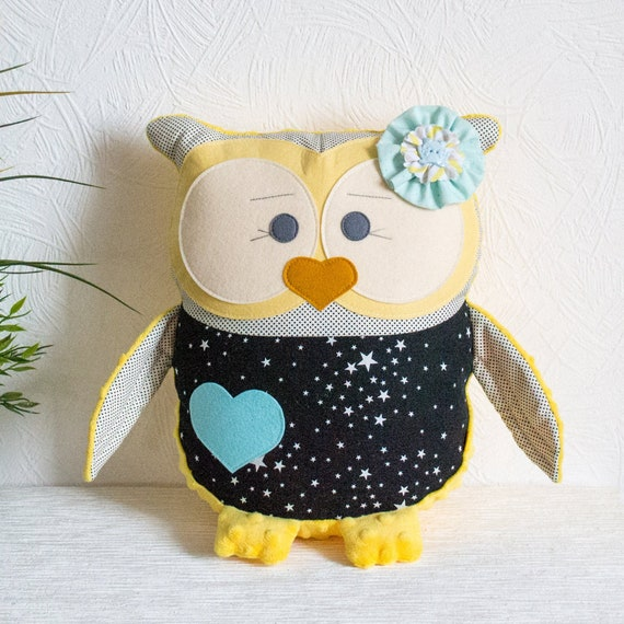 Owl pillow Kids pillow yellow black decor Baby shower Stuffed owl Animal pillow Personalized owl Baby nursery Decorative pillow Plushie toys