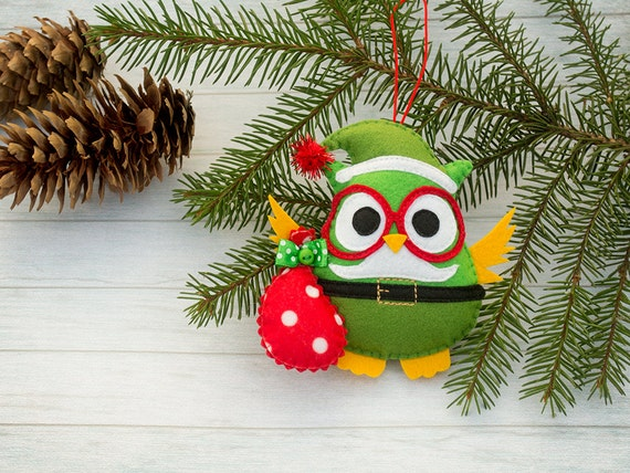Christmas ornaments Christmas gifts Santa ornament Christmas tree Owl gift Christmas decoration Felt animal Owl home decor Secret Santa gift