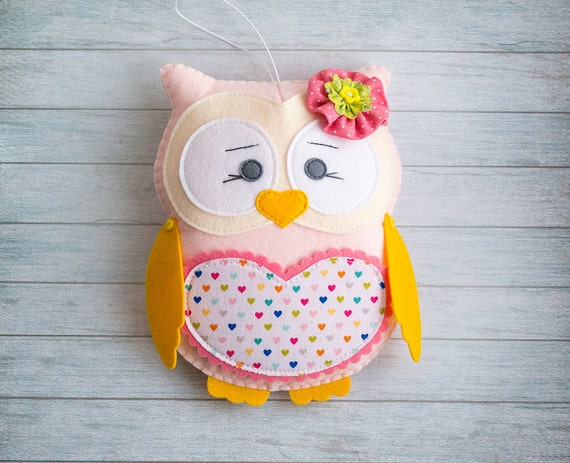 Stuffed toy Plush gift for kids Plushy owl Pink animal Personalized toy Baby girl gift Tooth fairy Felt owls Sister gift for niece Owl decor