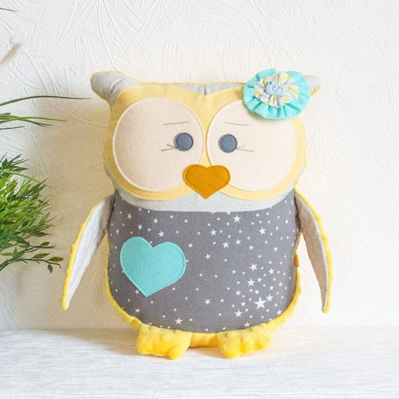 Decorative pillow Owl gift Yellow and gray owl pillow Personalized gift Plushie animal toy Nursery pillow Stuffed toy Gift for girl Gray owl