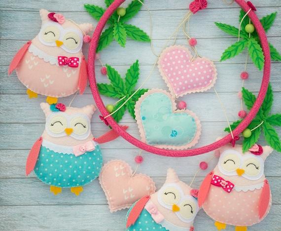 Baby mobile Owl nursery decor Baby girl gift Pink turquoise nursery mobiles Felt animals Woodland mobiles Cute owl mobile Baby shower gift