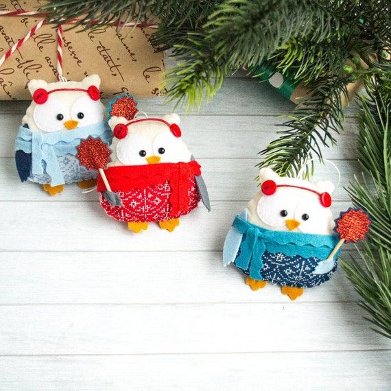 Felt Christmas ornaments Christmas favors Christmas tree ornament Owl ornament Office secret santa gift Funny gift Owl gift Santa gift ideas