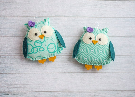 Handmade owl Animal ornaments Owl decoration Teal baby shower decor Purple nursery Baby ornament Custom kids gift Sister present Baby mobile