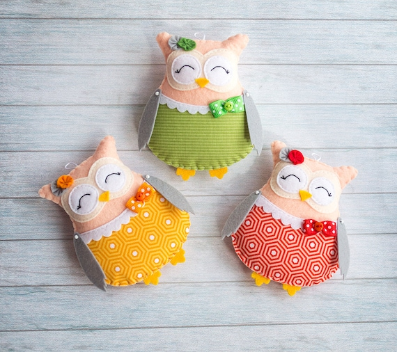 Woodland owl Kids room decor Owl wall hangings Baby shower gift Green orange decor Red ornaments Cute girl gift Stuffed animals Easter gift