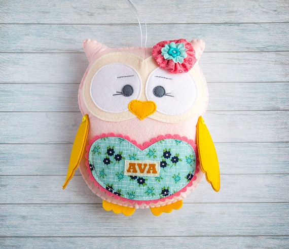 Tooth fairy pillow Daughter gift Pink owl gift Custom pillow Animal ornaments Teeth pillow Personalized cushion Cute owl decor Navy and pink