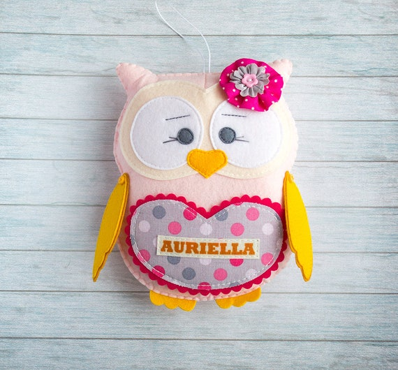 Owl toy Christmas gift Gray hot pink decor Kids toy Stuffed animal Personalized plushie Owl theme Baby girl gift Kids graduation Owl nursery