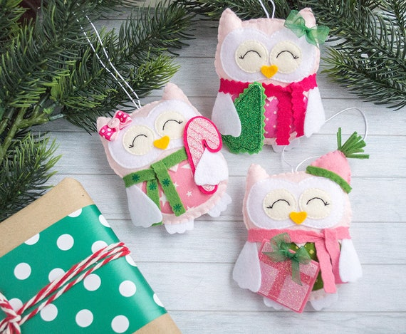 Owl gifts Pink christmas ornaments Pink ornament Office secret santa gift Owl Christmas favors Funny gift for Christmas tree ornaments owls