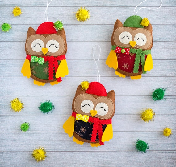 Cute owl Christmas tree ornaments Owl gifts Cute gifts Owl decor Coworker gift for Christmas Wall decor Xmas gift idea funny teacher gift
