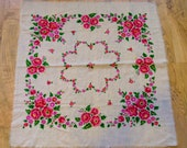 Vintage Russian Shawl Natural Wool Chale Russe Russian Scarf Floral Shawl with Roses Boho Winter White Medium Size USSR Vintage Scarf Wrap