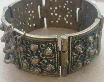Antique Bronze Ring Bulgarian Women Ring Enamel 1800s Boho Unusual Traditional Balkan