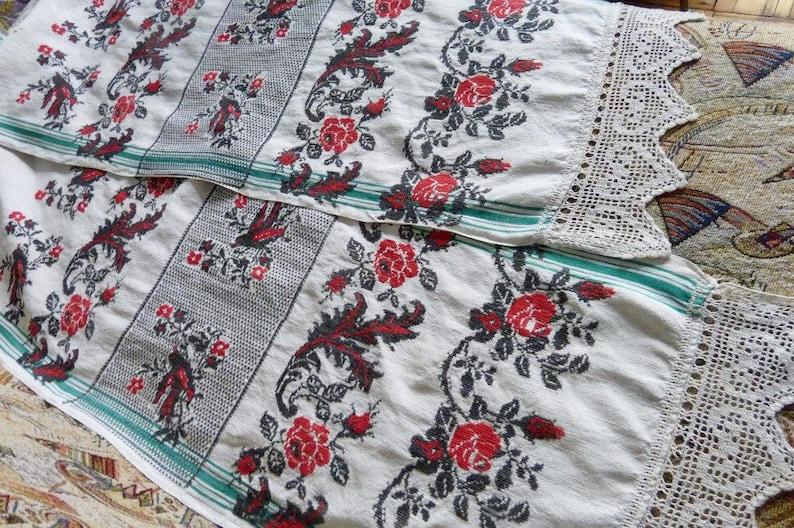 1930s Ukrainian Rushnik Embroidered Towel Unique Hand Embroidery Birds Flowers Folk Art Traditional Decorative Towel Crochet Lace Vintage