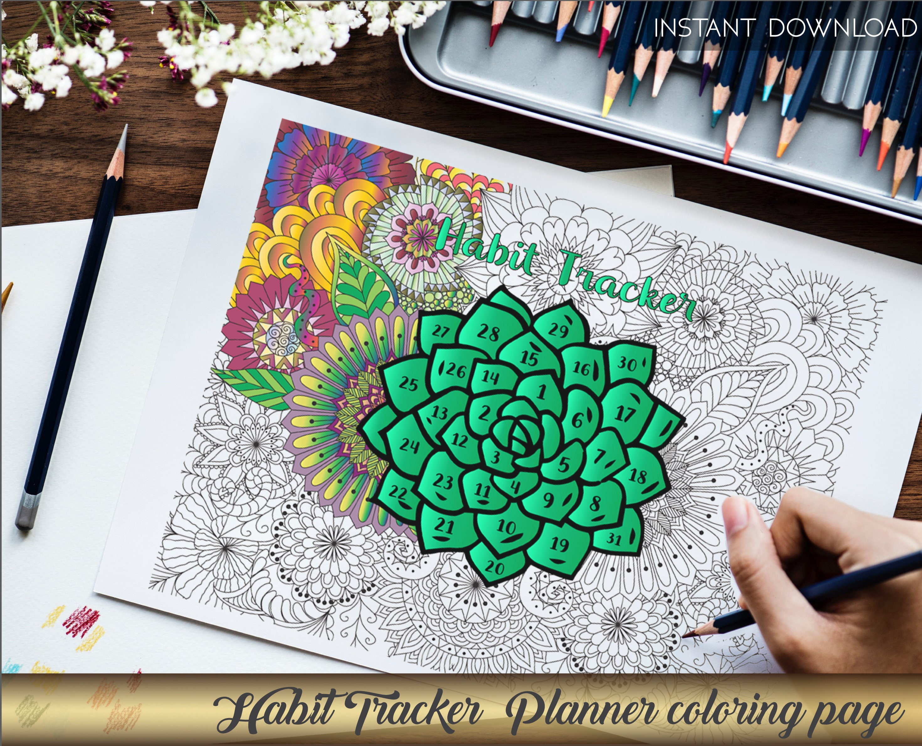 Coloring page Habit tracker Coloring book Printable coloring | Etsy