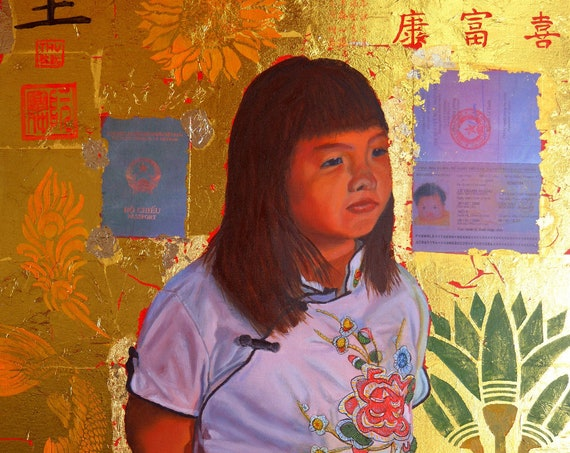 Le Thanh Hoang, oil and 24 kt gold leaf on panel, image size: 16 x 20 inches, framed