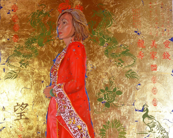 Raise the red lantern, oil and 24 kt gold leaf on panel, wired on back ready to hang without frame